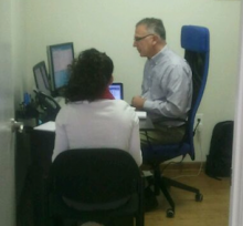 Usability test in progress.  Usability Consultants at the Usability People EHR Safety Enhanced Design